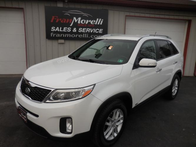 2015 White /Black Kia Sorento LX AWD (5XYKTCA66FG) with an 2.4L L4 DOHC 16V engine, 6-Speed Automatic transmission, located at 8464 Route 219, Brockway, PA, 15824, (814) 265-1330, 41.226871, -78.780518 - Photo #0